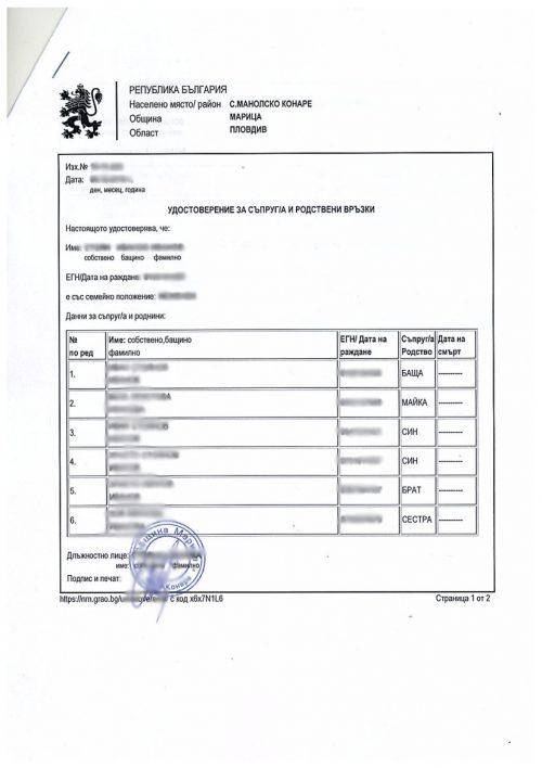 Превод и Легализация на Удостоверение за родствени връзки