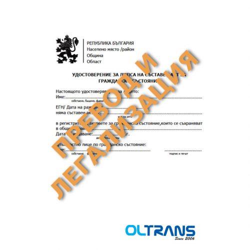 Удостоверение за липса на съставен акт за раждане или смърт, превод и легализация