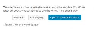 Съобщение, че се опитвате да редактирате страницата в стандартния редактор на WordPress